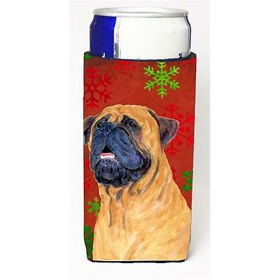 Mastiff Red And Green Snowflakes Holiday Christmas Michelob Ultra bottle slee...