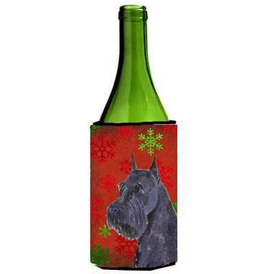 Schnauzer Red And Green Snowflakes Holiday Christmas Wine bottle sleeve 24 oz.