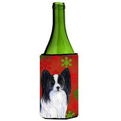 Papillon Red And Green Snowflakes Holiday Christmas Wine bottle sleeve 24 oz.