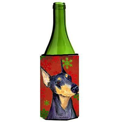 Doberman Red And Green Snowflakes Holiday Christmas Wine bottle sleeve 24 oz.