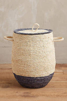 New Anthropologie Sea Isle Basket ~Blue trim - Sold out!