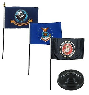 "Air Force Wing Light Blue 4/""x6/"" Flag Desk Set Table Stick Black Staff Black Base"