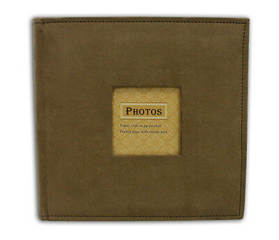 "Photo Album, Holds 200 4""x6"" pictures, 2 per page, Suede Cover, Brown"