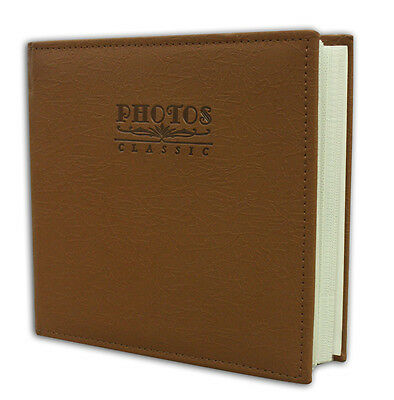 "Photo Album, Holds 200 4""x6"" pictures, 2 per page, Faux Leather Marron Brown"