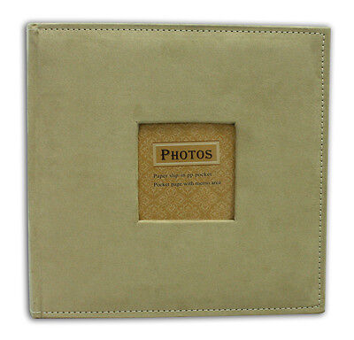 """Photo Album, Holds 200 4""""x6"""" pictures, 2 per page, Suede Cover, Beige"""