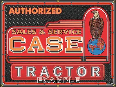 Case Tractor Neon Dealer Style Printed Banner Sign Garage Art New Design 4' X 3'