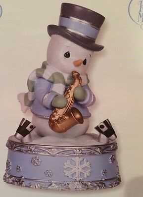 Precious Moments Company Snowman Playing Saxophone LED Musical New In Box