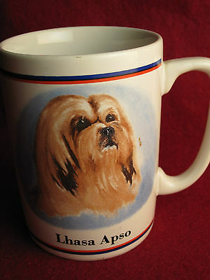 Rare R.Maystead-Artist-LHASA APSO Dog Portrait Coffee Cup/Mug CUTE Puppy