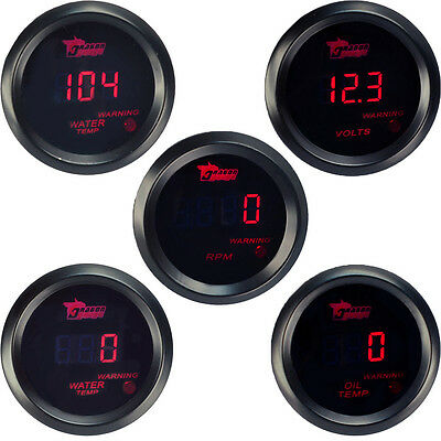 "2"" 52mm Car Universal Digital Water Oil Temp Volt Tacho Gauge Meter Red LED"