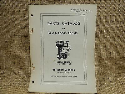 1954 Johnson Sea Horse Parts Catalog Models RDE-16 RDEL-16    25 horse