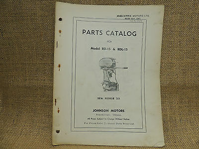 1953 1954 Johnson Sea Horse Parts Catalog Models RD-15 RDL-15   25 horse