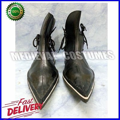 Medieval Reenactment Viking Mens Black Leather Boots Shoes Sca Role Play R12
