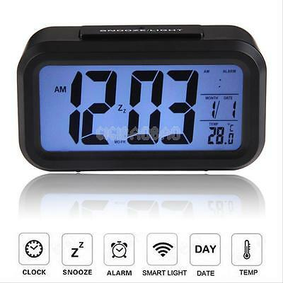 Digital Snooze Electronic LED Alarm Clock Backlight Time Calendar Thermometer E3