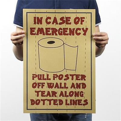 Funny Toilet emergency bar party restaurant Vintage Poster wall decor 51x35.5cm