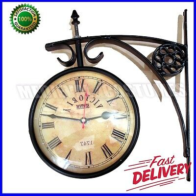 Vintage 1747 Victoria TRAIN Railway STATION CLOCK 2 Sided Battery Powered R134