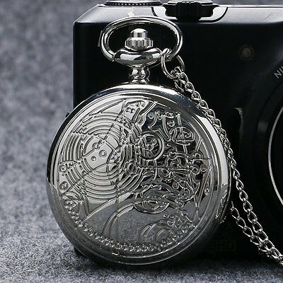 Classic Movie Doctor Who Compass Pattern Pocket Watch Pendant Chain Gift Collect