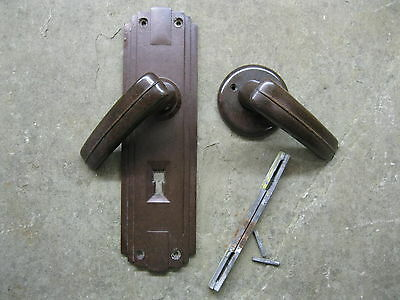 Pr Original 1930's Art Deco Bakelite Walnut Door Levers & Backplates  0197