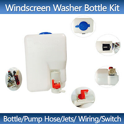 Universal Windscreen Washer Bottle Kit 12V Bottle Pump Hose Jets Switch Wiring