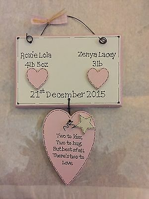 Personalised Handmade Wooden Gift Wall Plaque Twins Boys Girls