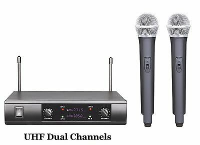 Professional Uhf Dual Channels Wireless Radio Microphone For Pa Karaoke