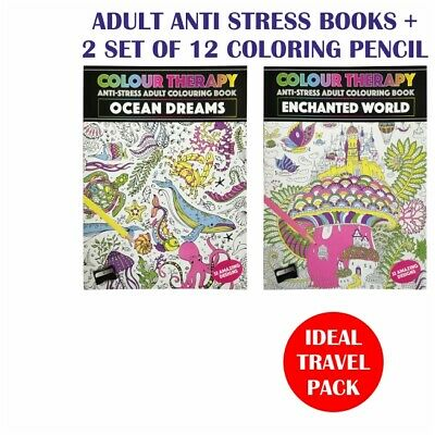 Adult Anti Stress 2 X Books+ 2 Set  Of 12 Coloring Pencil Set Ideal Travel Pack