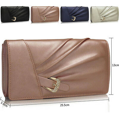 Faux Leather Women Clutch Bag Bridal Designer Ladies Evening Prom Party Sparkly