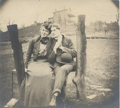 Original Vintage Photograph Of Well-Dressed Young Man   Woman In Front Of House