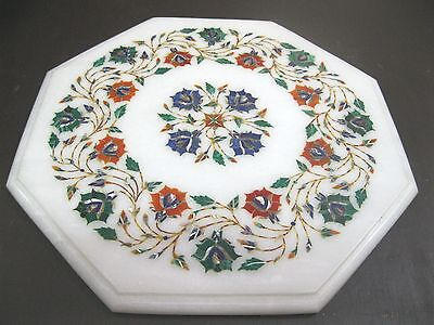 """13.5"""" Marble Coffee Table Side Table Multi Color Marquetry Work Home Decor Gift"""