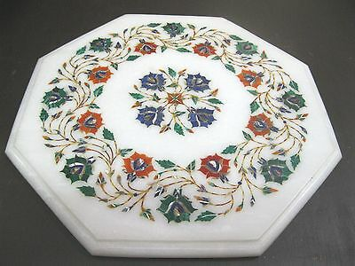 """13.5"""" Marble Coffee Table Side Table Multicolor Marquetry Work Home Decor Gift"""