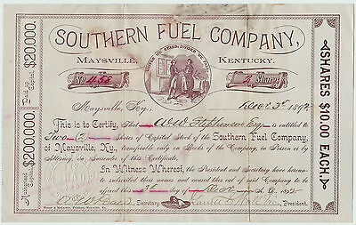 RARE - Stock Certificate Signed - Southern Fuel Company - Maysville KY 1892