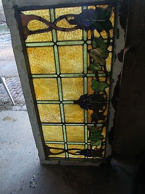 Vintage  Chicago Bungalow Grape Stained Glass Window
