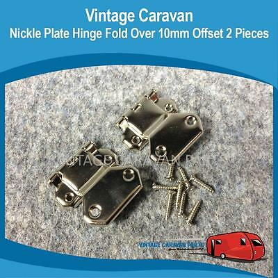 Caravan NICKLE PLATE HINGE FOLD OVER 10MM OFFSET x 2 Millard Vintage H0137