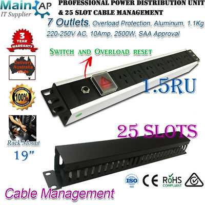 "1.5RU 7 OUTLETS WAY Aluminium Alloy PDU & 25 Slots Cable Management 19"" Rack Use"