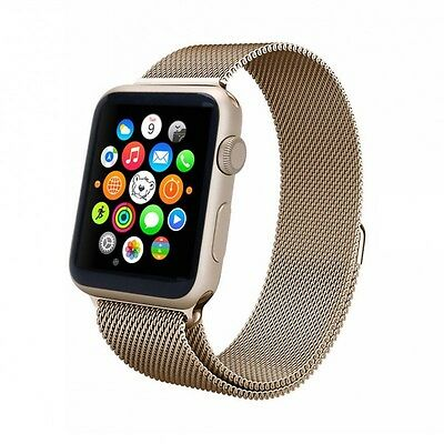 Aviato Apple Watch 42 mm Magnetic Milanaise Armband - Champagner Gold
