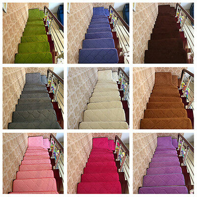 13pcs Stair Treads Rectangle Non-slip Carpet Mats Indoor Decor Rugs Pads Durable