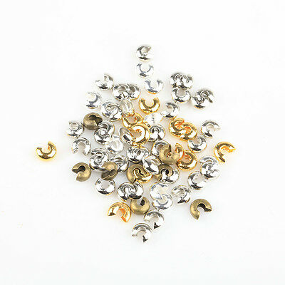 200 Pcs Wholesale Lots Golden Silver End Crimp Beads Knot Covers Finding 3/4/5mm