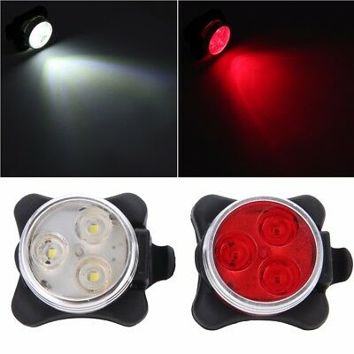 Cycling Bicycle Bike 3 LED Head Front Rear USB Rechargeable Tail Clip Light Lamp