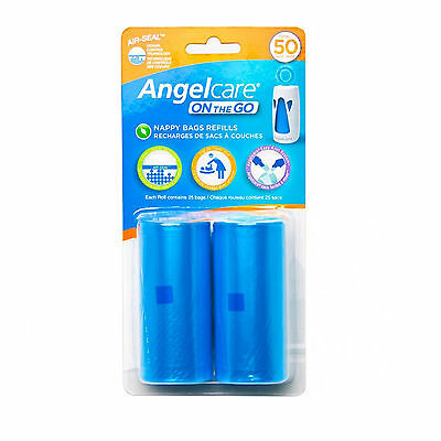 Angelcare On-The-Go Disposable Travel Nappy Bag Refills - 2pk   Odour Control
