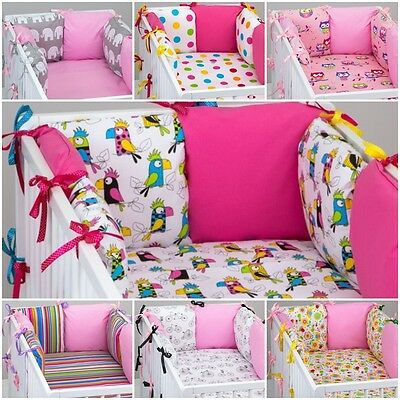 16 piece pcs COT BEDDING SET pink PILLOW BUMPER QUILT PILLOW CUSHION CASE COVER