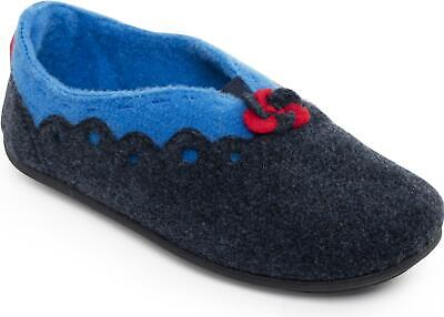 Padders HANNAH Ladies Womens Felt Wide Fit Full Warm Comfort Slippers Navy/Blue