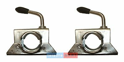 Pair Trailer Jockey Wheel Split Clamps 34mm for Boat Bracket Stems, Prop Stands