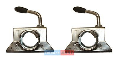 Pair of trailer jockey wheel boat bracket stem clamps 34mm