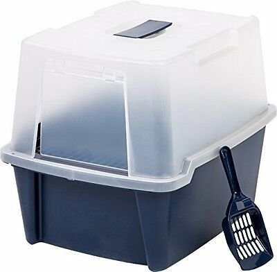 IRIS Hooded Litter Box w/ Scoop / Paw Cleaning Grid, Large, Navy