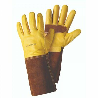 Briers Golden Leather Gauntlet Garden Gardening Gloves ~  Large ~  B6534