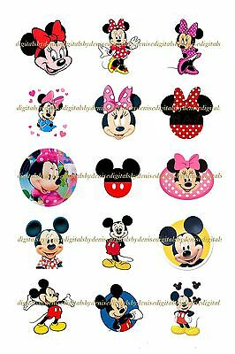 """Mickey Mouse Minnie Mouse 1"""" Circles  Bottle Cap Images. $2.45-$5.50 Ships Free"""