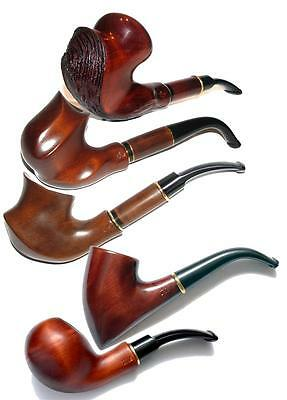 Lot of 5 Wooden Carving Tobacco Smoking Pipes, Handmade, Free shipping