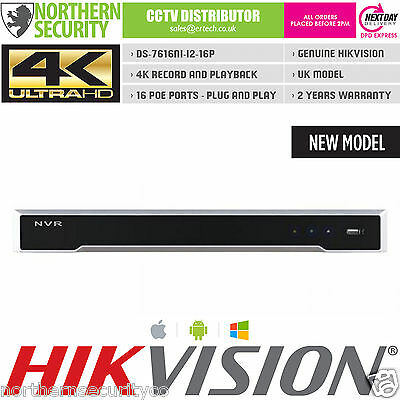 HIKVISION NVR DS-7616NI-i2-16P 4K UHD H.265 16 CHANNEL 16 POE 12MP VIDEO RECORDR