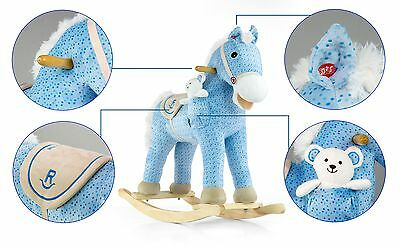 Childrens Wooden  Rocking Horse, plush Pony with toy - white teddybear
