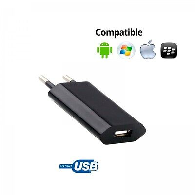 Cargador Corriente Usb Red De Pared Universal Para Movil Smartphone Negro 5V 1A.