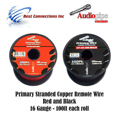 16 Gauge Black & Red 100Ft Each Power Ground Remote Wire Stranded Copper Clad